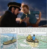 Tintin and Captain Haddock at Sea - Comparison between Movie and Comic