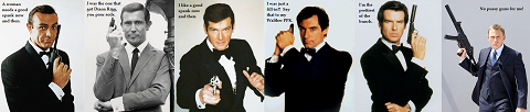 James Bond Satire: Sean Connery, George Lazenby, Roger Moore, Timothy Dalton, Pierce Brosnan, Daniel Craig