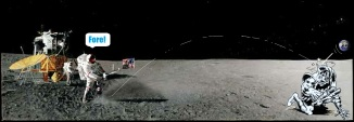 Alan Shepard playing golf on the moon
