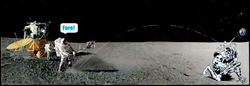 Alan Shepard playing golf on the moon