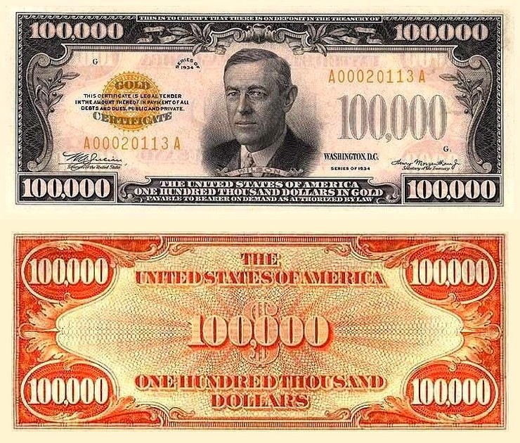 $100,000 United States money