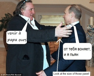 Gérard Depardieu and Vladimir Putin