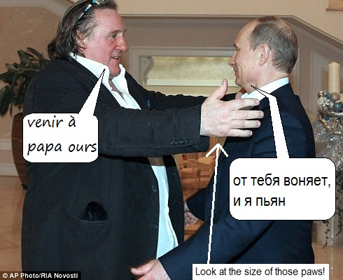 Gérard Depardieu and Vladimir Putin