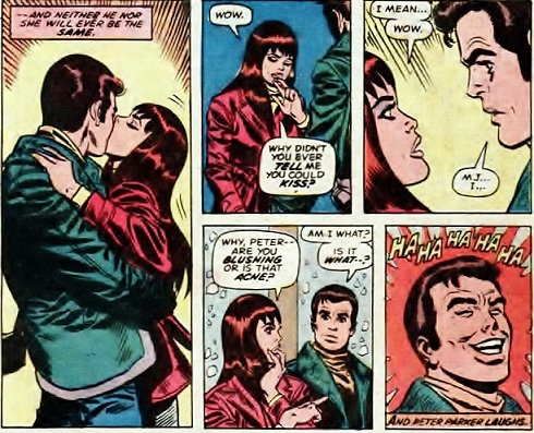 Mary Jane Watson kisses Peter Parker