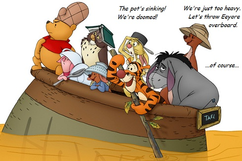 Winnie the Pooh and crew. Eeyore is very forlorn