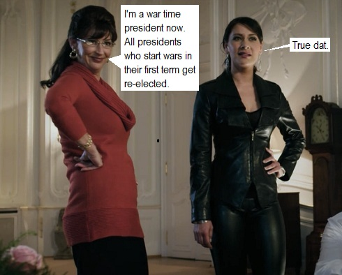 Sarah Palin and Vivian Wagner characters in Iron Sky Movie