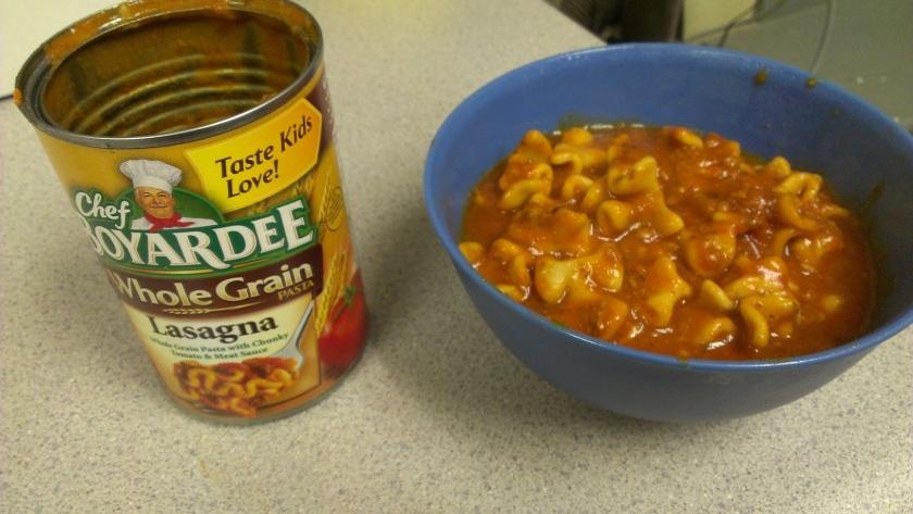 A can of Chef Boyardee Whole Grain Lasagna