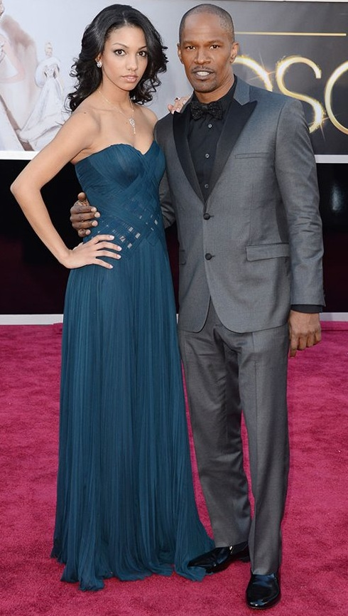 Corinne Bishop and Jaime Foxx on the red carpet at the 85th Academy Award Program