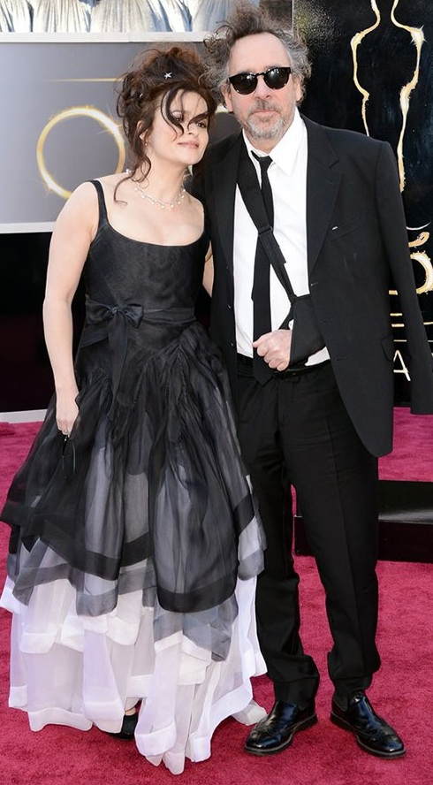 Helena Bonham Carter and Tim Burton on the red carpet at the 85th Academy Award Program
