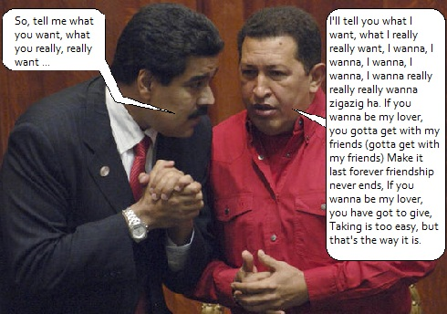 Hugo Chavez meets with Nicolas Maduro, the new President of Venezulea