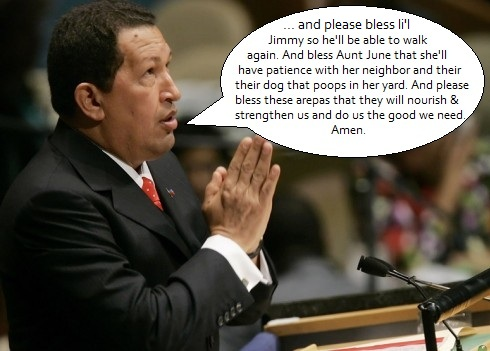 Hugo Chavez praying at the United Nations