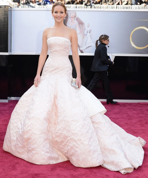 Jennifer Lawrence on the red carpet at the 85th Academy Award Program