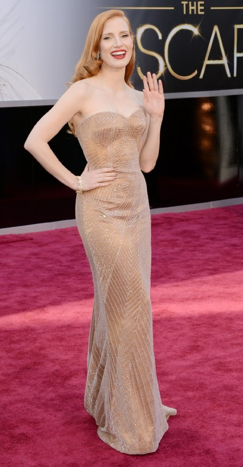 Jessica Chastain on the red carpet at the 85th Academy Award Program