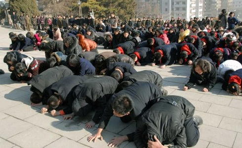 North Korean citizens mourning the death of Kim Jong-il