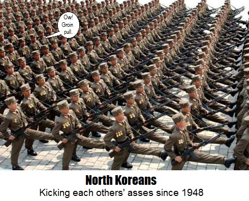 North Korean Soldiers Marching at a Military Parade