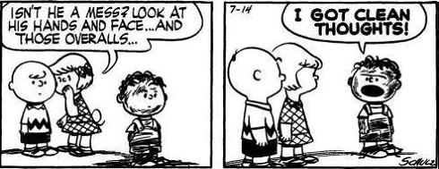 Peanuts cartoon strip featuring Pig Pen