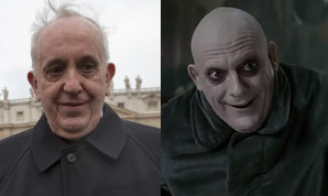 Pope Jorge Mario Bergoglio looks like Uncle Fester