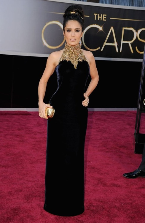 Salma Hayek on the red carpet at the 85th Academy Award Program