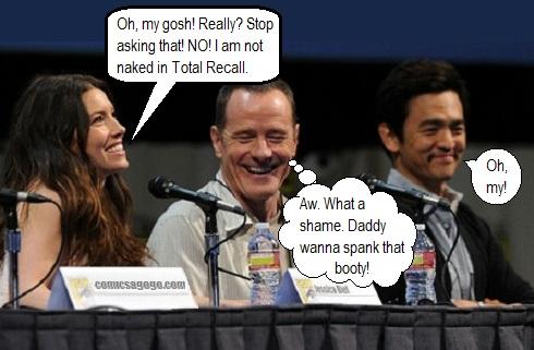 Jessica Biel, Bryan Cranston, and John Cho at the Total Recall Panel, 2012 Comic-Con