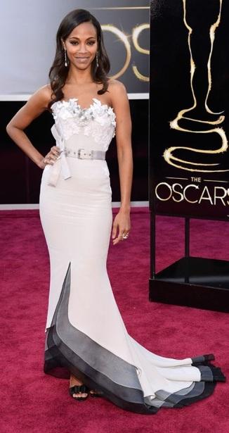 Zoe Saldana on the red carpet at the 85th Academy Award Program