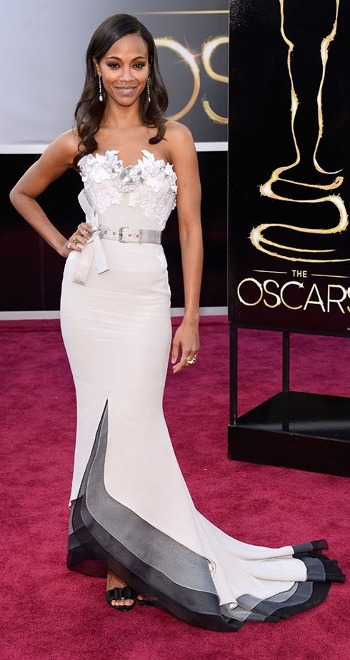 Zoe Saldana on the red carpet at the 85th Academy Award Program
