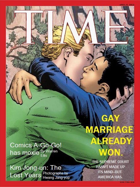 Gay Superhero Alan Scott kisses Sam on the cover of Time Magazine