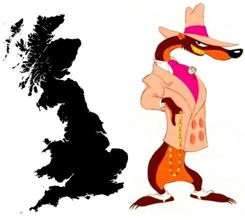 Great Britain's outline looks like Smarty Weasel