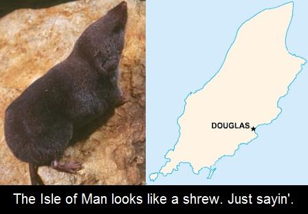 The Isle of Man looks like a shrew