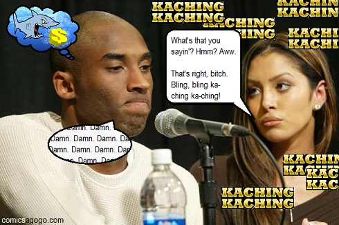 Kobe and Vanessa Bryant at the press conference talking about the rape