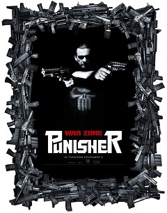 Punisher War Zone Movie Poster, surrounded by guns