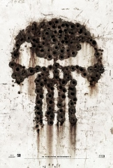 Punisher War Zone Movie Poster, bullet holes in wall