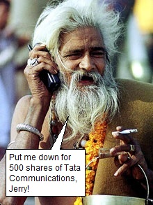Indian Yogi on cell phone
