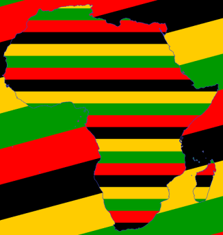 African Continent Outline with African Colors