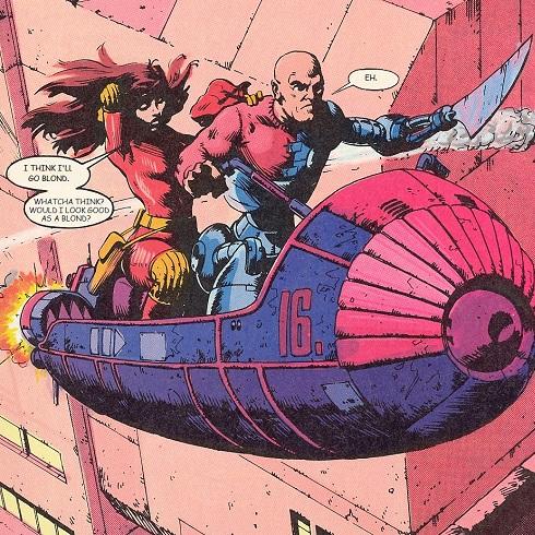 Mysta and Axel on flying car