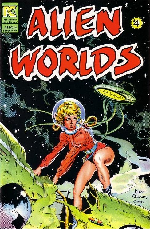 Dave Stevens Alien Worlds #4 cover art, sexy astronaut