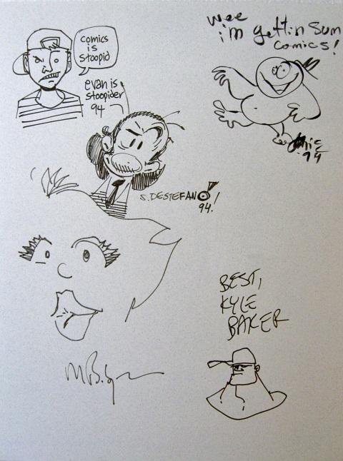 Sketches by Kyle Baker, Evan Dorkin, Robbie Busch, Stephen DeStefano, Mark Badger