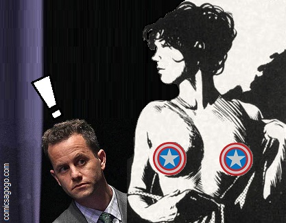 Kirk Cameron looks at a nude woman