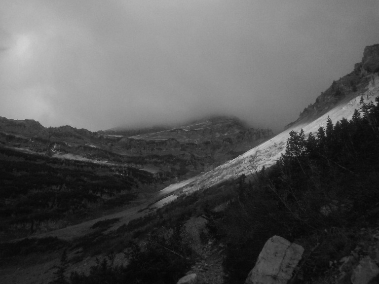 Mountain Trail in Black and White