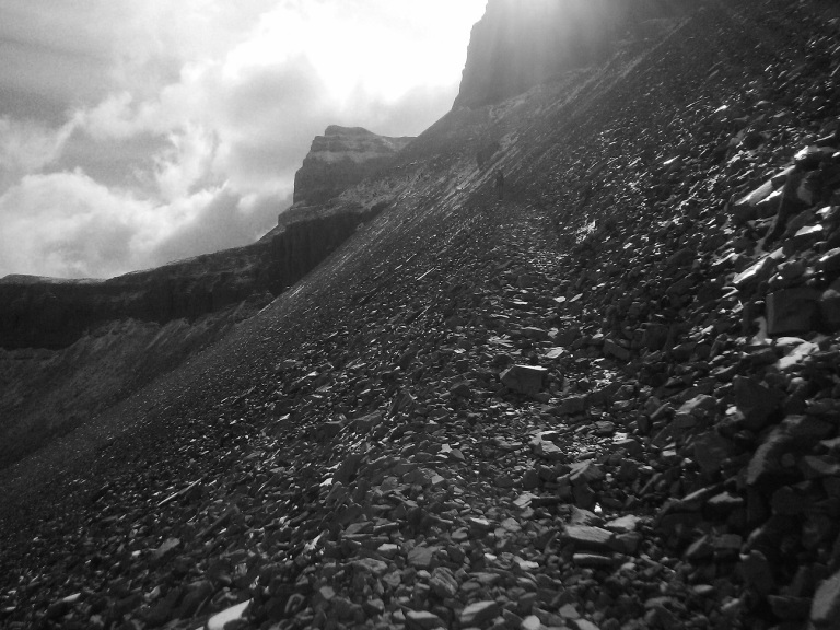 Mountain Hikers in Black and White