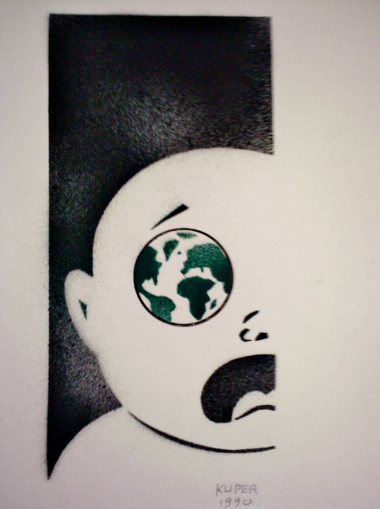 "Peter Kuper original art piece titled ""Population Explosion"""