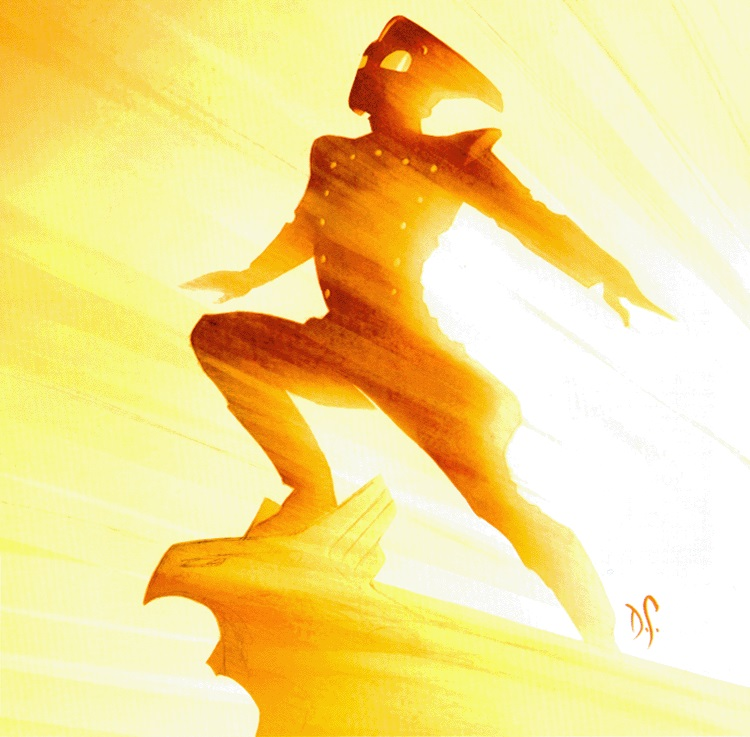 The Rocketeer in sunlight illustration, Back Issue
