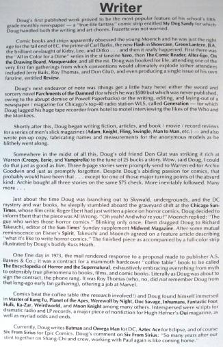 Biography of Doug Moench, comic book writer, Six from Sirius