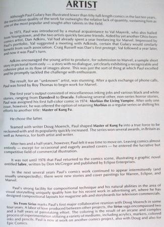 Biography of Paul Gulacy, comic book arist, Six from Sirius
