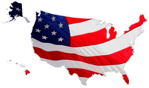 Outline of the United States with American Flag