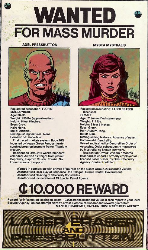 Wanted Poster for Axel Pressbutton and Laser Eraser