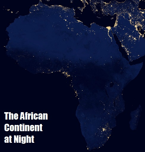The African Continent at Night from a NASA satellite image