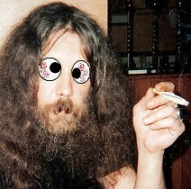 Alan Moore with googly eyes