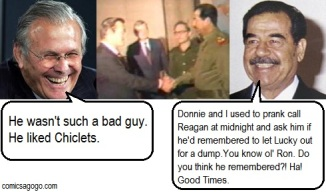 Donald Rumsfeld meets with Saddam Hussein and shakes hands with him.