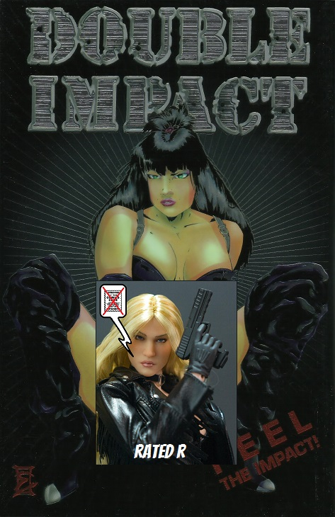 Sexy comic book cover, Double Impact