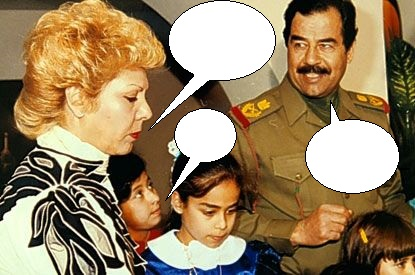 Saddam and Sajida Hussein at a party